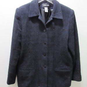 Sag Harbor Black & Sparkle  Button Down Jacket